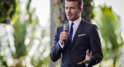 David Beckham announcing a MLS team being brought to Miami.