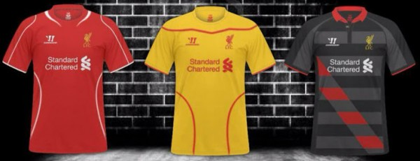 liverpool 2014 15 shirts 600x231 Liverpool Home, Away And Third Shirts for the 2014/15 Season: New [PHOTOS]