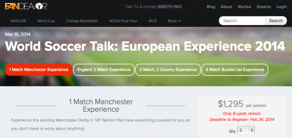 soccer travel package 600x283 Registration Closes On Monday For the World Soccer Talk European Experience