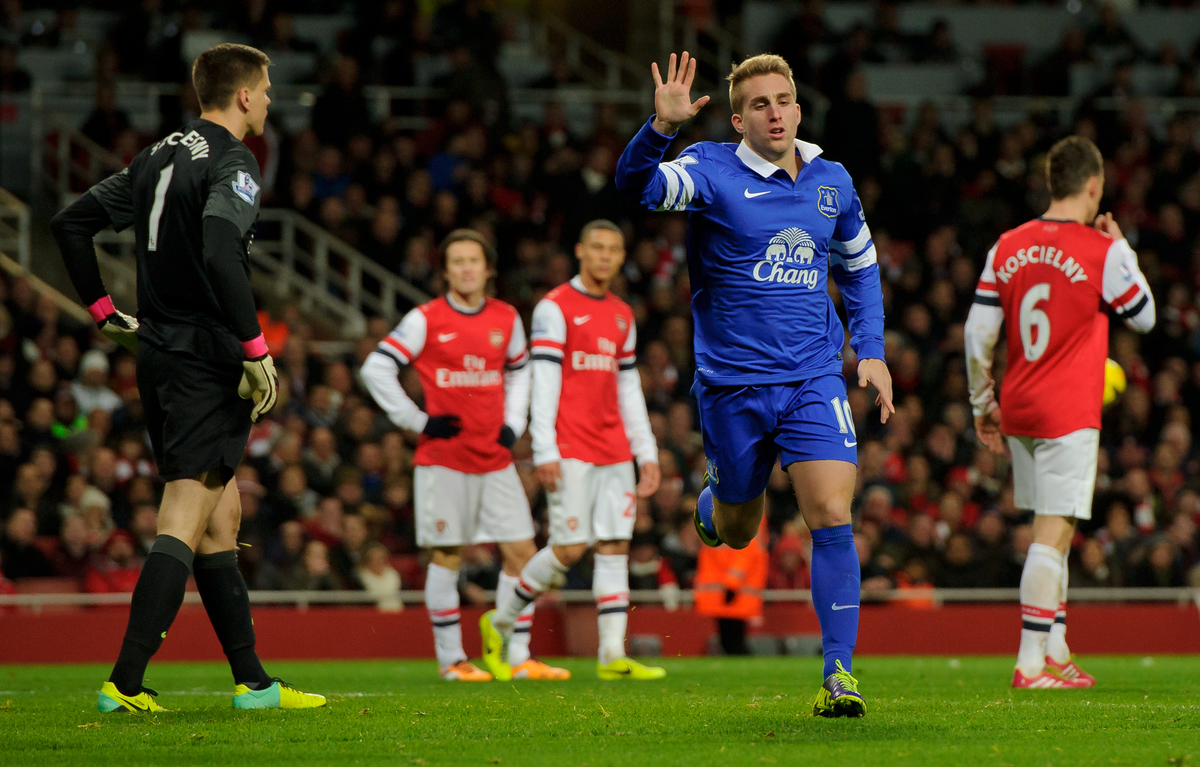Gerard Deulofeu of Everton celebrates his goal, 1-1