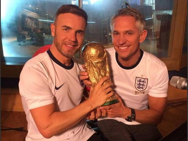 gary barlow lineker WATCH Behind the Scenes Footage of Englands Official World Cup Song [VIDEO]
