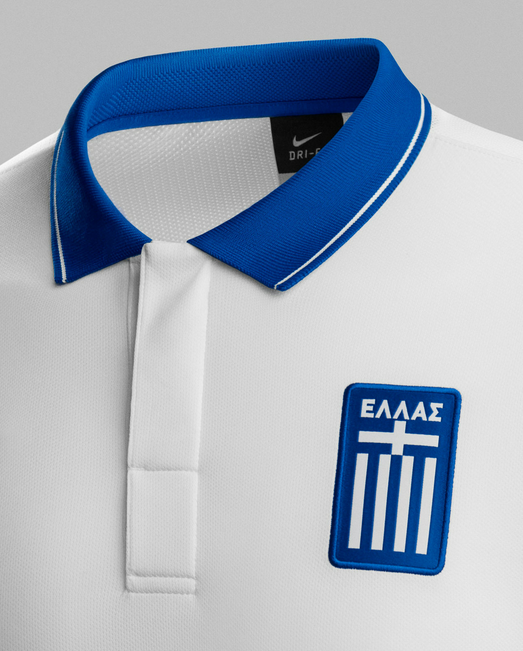 greece world cup home shirt crest Greece World Cup Shirts Home And Away Unveiled For 2014: Official [PHOTOS]