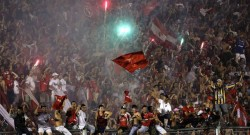 Fans of Argentina's Independiente celebrate after defeating Brazil's Goias to win the Copa Sudamericana in Buenos Aires