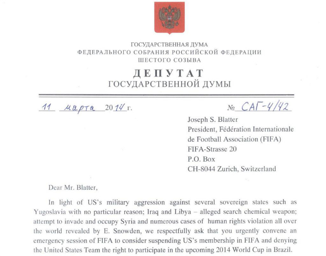 russia letter to fifa US and Russian Politicians Using Soccer As a Weapon In New Cold War Over Ukraine
