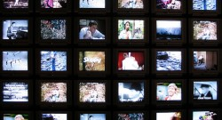wall of tv screens