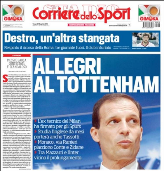 allegri to tottenham Tottenham to Appoint Massimiliano Allegri As Manager In July, Says Report