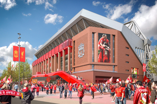 anfield closeup Liverpool Unveil New Designs for Anfield Expansion [PHOTOS]