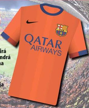 barcelona away shirt 2014 15 season Barcelona Home and Away Shirts For 2014/15 Season: Leaked [PHOTOS]
