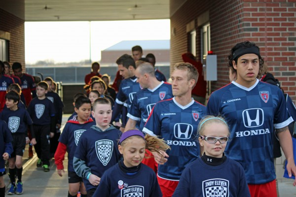 indy eleven team lined up 600x400 Behind the Scenes at Indy Eleven, Americas Newest Soccer Club