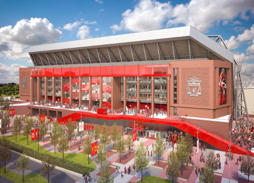 liverpool anfield main stand outside Liverpool Unveil New Designs for Anfield Expansion [PHOTOS]