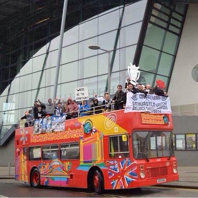 newcastle united open top bus parade Newcastle Fans Celebrate Miserable Season With Open Top Bus Parade [PHOTO]
