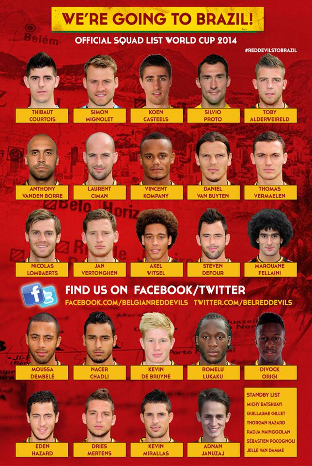 belgium Belgium Names Its Squad For World Cup 2014; Januzaj In, Thorgan Hazard Out