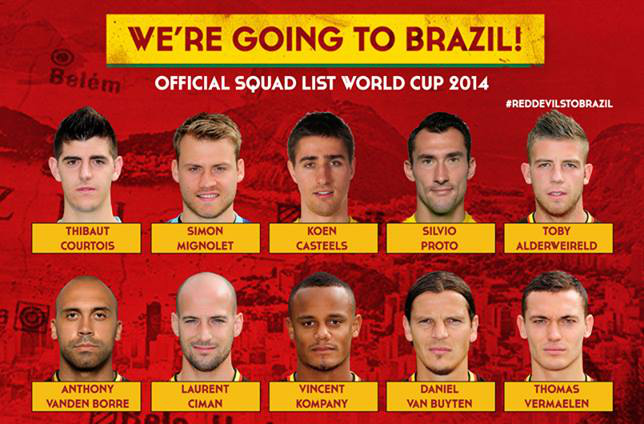 belgium1 Belgium Names Its Squad For World Cup 2014; Januzaj In, Thorgan Hazard Out