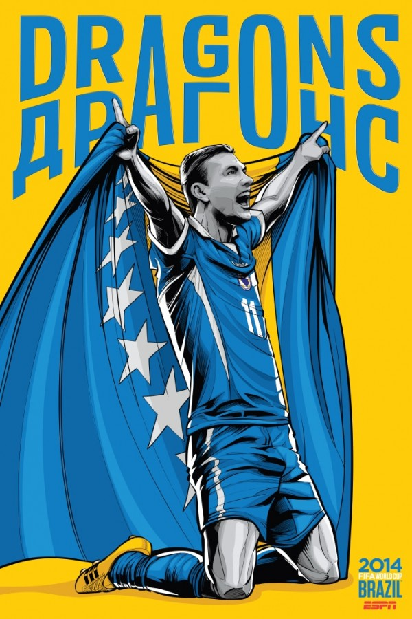 bosnia herzegovina world cup poster espn 600x900 View World Cup Posters For All 32 Teams At Brazil 2014 From ESPN