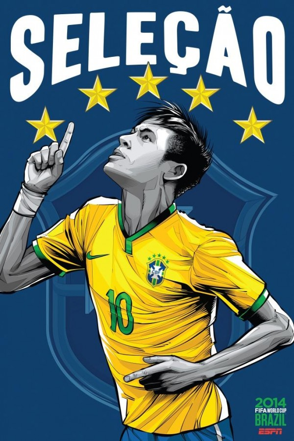 brazil world cup poster espn 600x900 View World Cup Posters For All 32 Teams At Brazil 2014 From ESPN