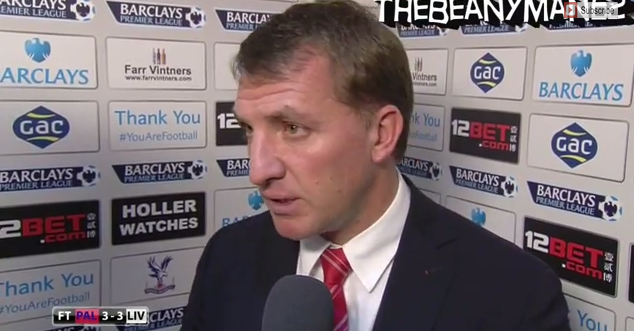brendan rodgers WATCH Brendan Rodgers Post Match Interview After Liverpools 3 3 Draw Against Palace [VIDEO]