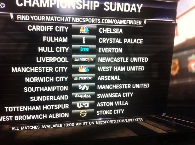 championship sunday nbc Where to Watch Championship Sunday On US TV: Premier League Gameweek 38 Open Thread
