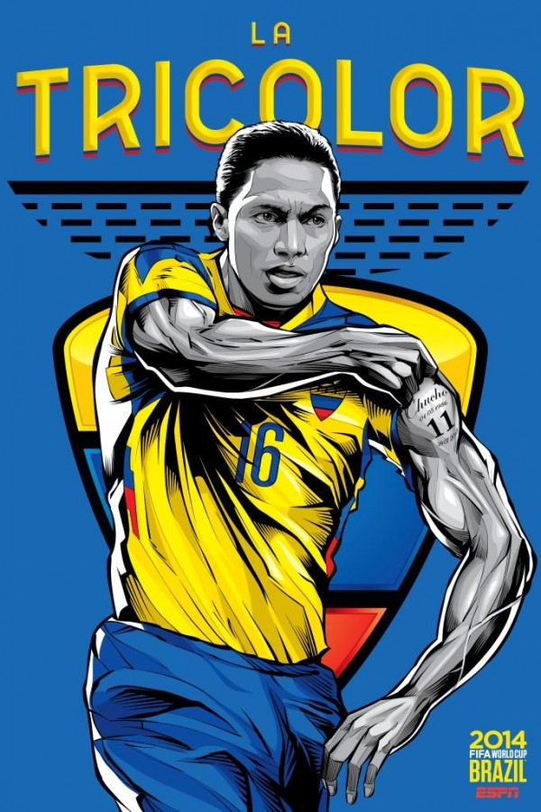 ecuador world cup poster espn 600x900 View World Cup Posters For All 32 Teams At Brazil 2014 From ESPN