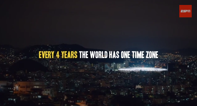 espn world cup video time zone WATCH ESPNs New World Cup Video: Every 4 Years, the World Has One Time Zone [VIDEO]