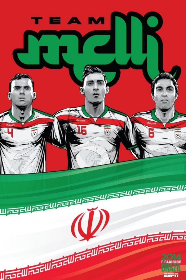 iran world cup poster espn 600x900 View World Cup Posters For All 32 Teams At Brazil 2014 From ESPN