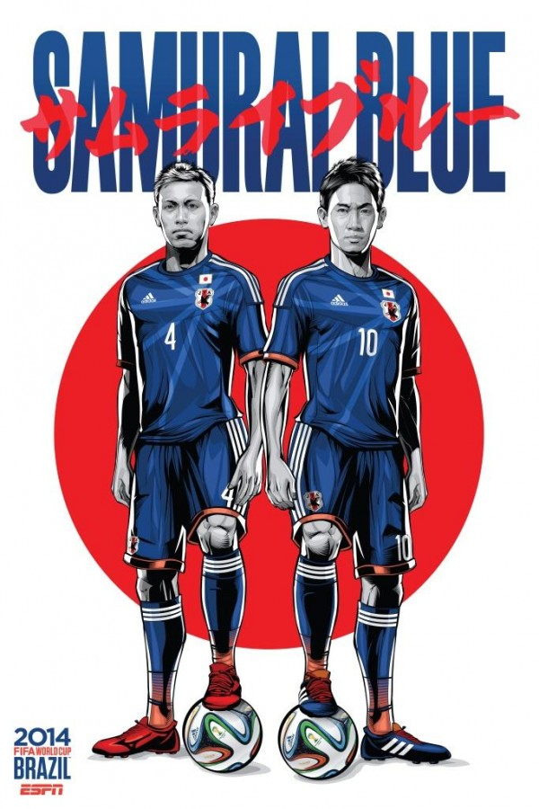 japan world cup poster espn 600x900 View World Cup Posters For All 32 Teams At Brazil 2014 From ESPN