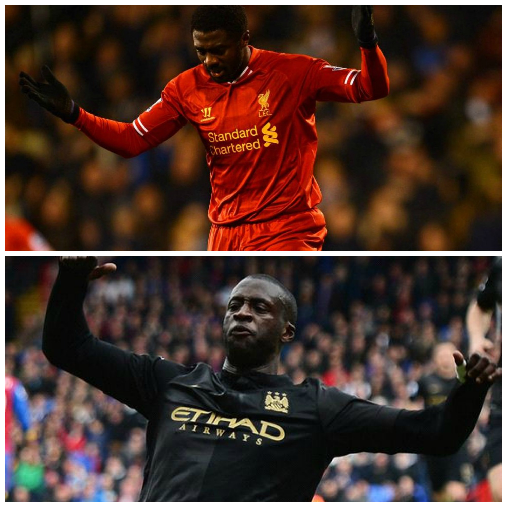 Kolo Toure (top) and Yaya Toure (bottom) are brothers competing in the Premiere League.