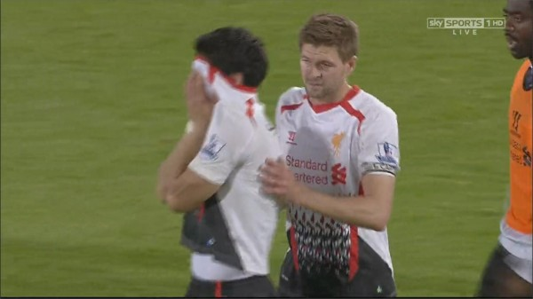 luis suarez in tears 600x337 Watch Luis Suarez In Tears As Crystal Palace Stun Liverpool With 3 3 Draw [VIDEO]