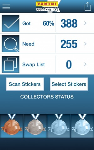 panini collectors status 300x479 Download the Panini Collectors App to Organize Your World Cup Sticker Collection