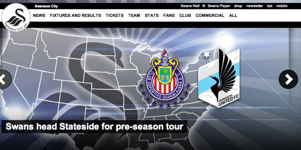 swansea city usa tour 600x299 Swansea City Announce US Preseason Tour Including Game Against Chivas de Guadalajara