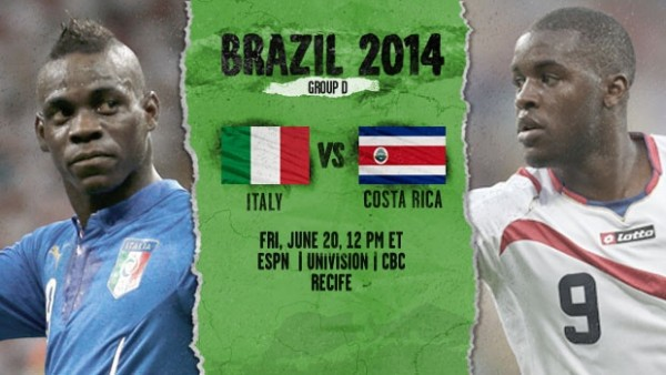 14 600x338 Italy vs Costa Rica: Starting Lineups And World Cup Open Thread