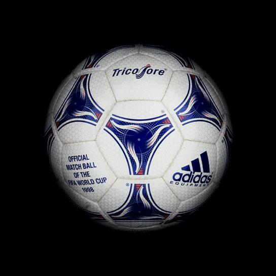 20 1998 World Cup EQT Tricolore View a Gallery of Soccer Balls Used by FIFA Since the First World Cup in 1930