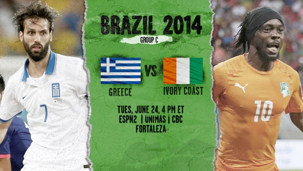 Greece vs Ivory Coast: Starting Lineups And World Cup Open Thread
