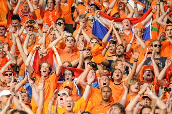 Dutch football supporters 20120609 1 600x398 Netherlands 5 1 Spain: Orange Tear Apart Reigning World Champions; Match Highlights (VIDEO)