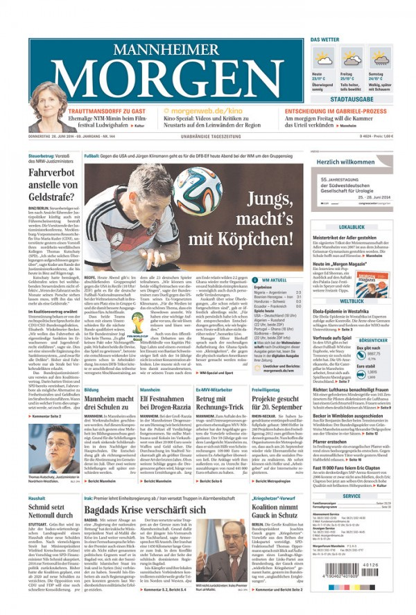 GER MM 600x888 Newspaper Front Covers from USA And Germany Before World Cup Game [PHOTOS]