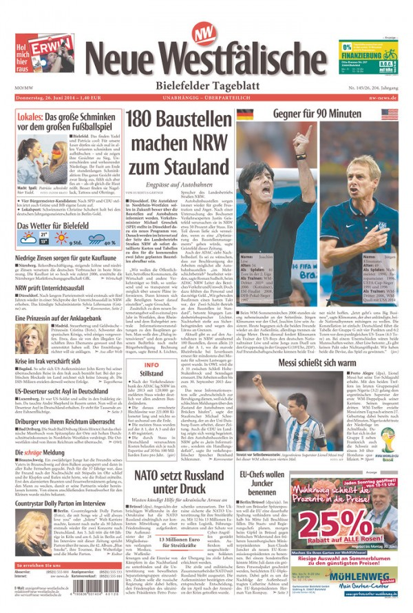 GER NW 600x890 Newspaper Front Covers from USA And Germany Before World Cup Game [PHOTOS]