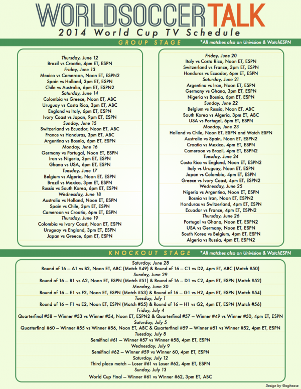 Image of World Cup 2014 Full Day by Day TV Schedule 600x776 Download a World Cup TV Schedule In PDF Format For Viewers in the USA