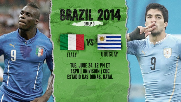 Italy and Uruguay's Predicted Line-Up For Last Group D Spot