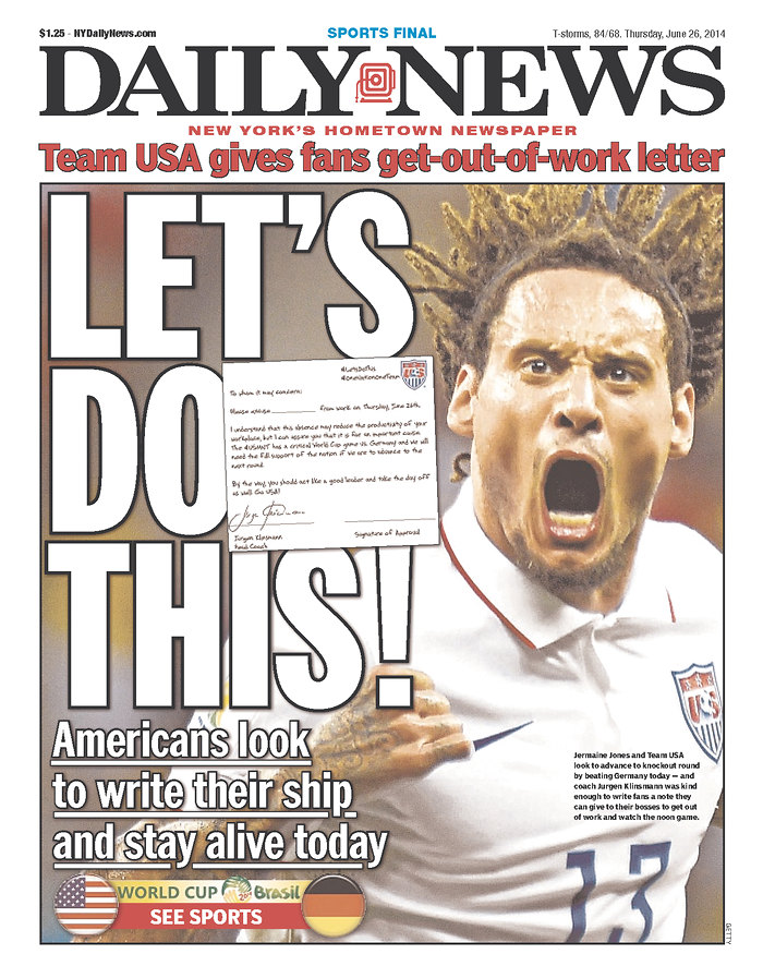 Newspaper Front Covers from USA And Germany Before World Cup Game [PHOTOS]