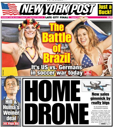 Screen Shot 2014 06 26 at 11.22.23 AM Newspaper Front Covers from USA And Germany Before World Cup Game [PHOTOS]