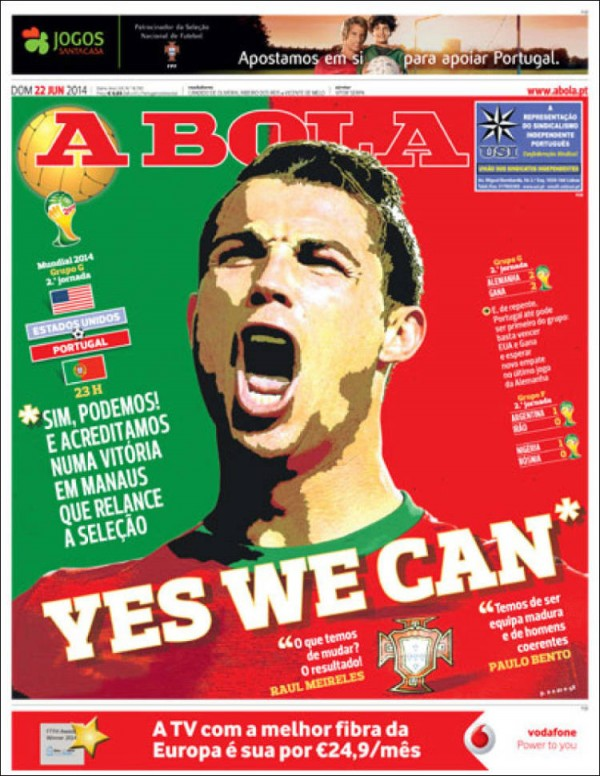 a bola 600x776 Front Covers of Portuguese and US Newspapers Preview USA Portugal Game [PHOTOS]