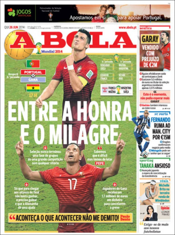 a bola.750 600x808 Newspaper Front Covers from USA And Germany Before World Cup Game [PHOTOS]