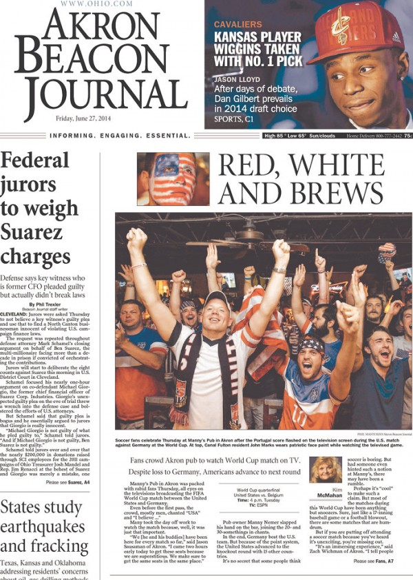 akron beacon journal1 600x842 Front Covers Of Newspapers After USA Advance In World Cup [PHOTOS]