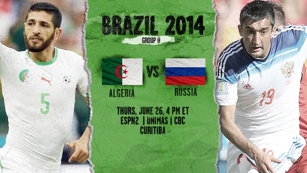 algeria russia Algeria vs Russia, Starting Lineups and World Cup Open Thread