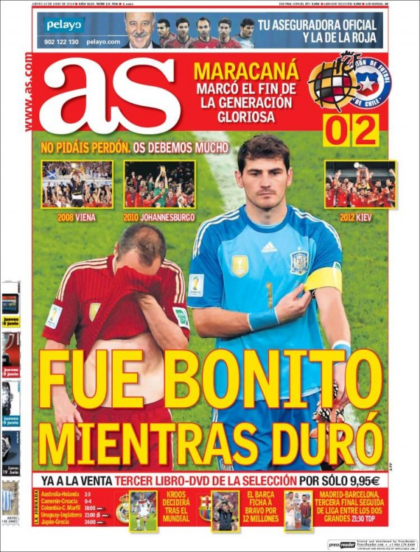 as spain 600x789 Reaction From Chile And Spain Newspapers to Chile 2 0 Spain [PHOTOS]