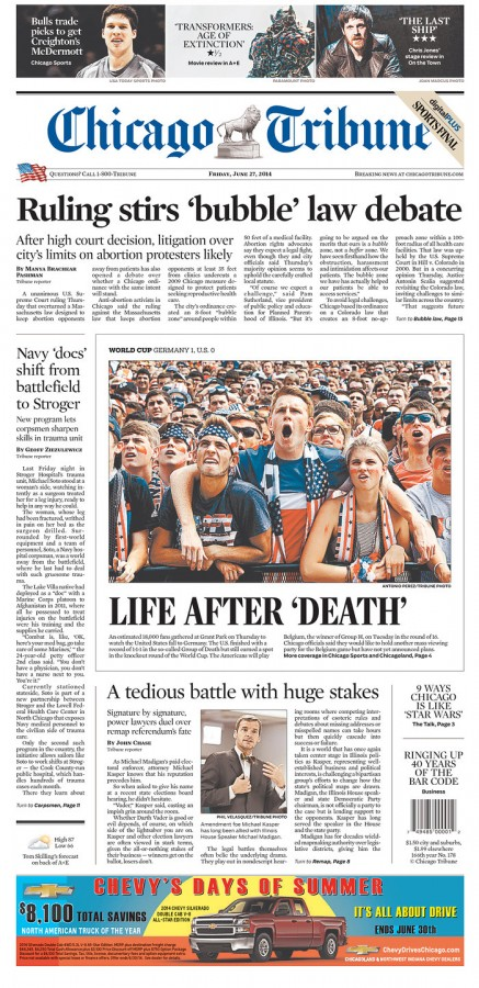 chicago tribune 437x900 Front Covers Of Newspapers After USA Advance In World Cup [PHOTOS]