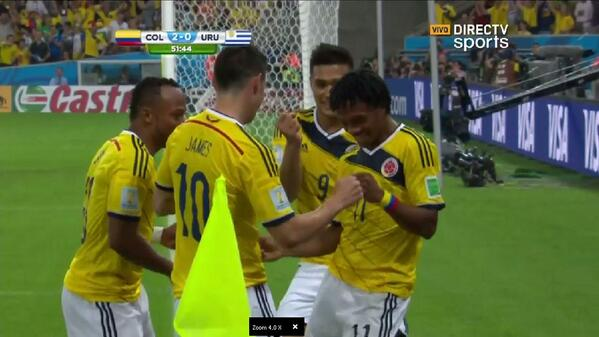 colombia2 James Rodriguez Scores Again to Double the Lead Against Uruguay [VIDEO]