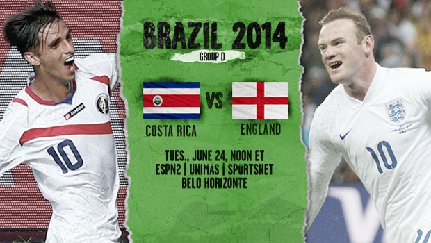 costa rica england England and Costa Rica Starting Lineups and World Cup Open Thread