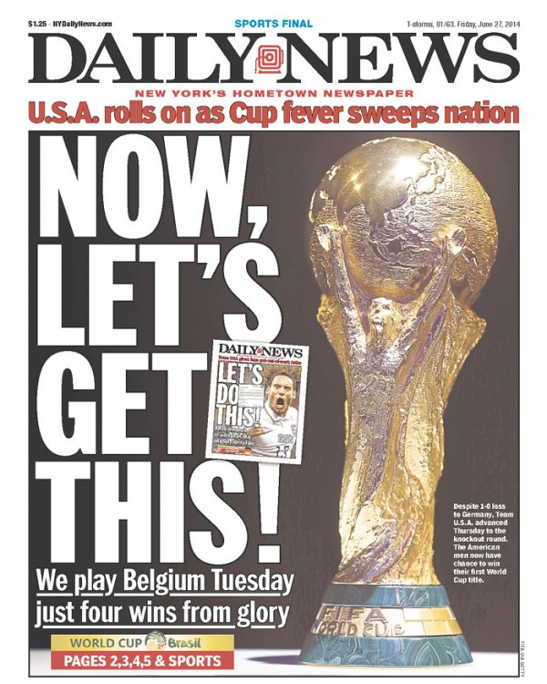 Front covers of newspapers after usa advance in world cup photos