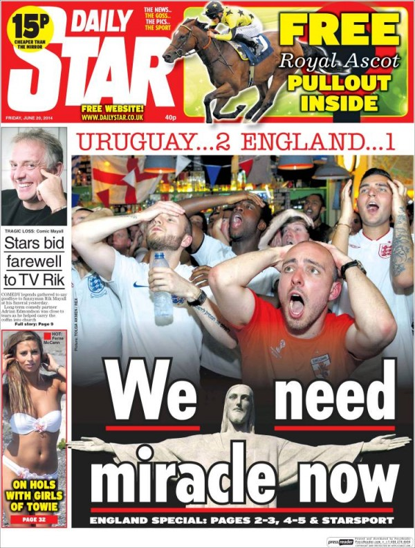 daily star.750 600x792 English and Uruguayan Newspapers React to Uruguay 2 1 England