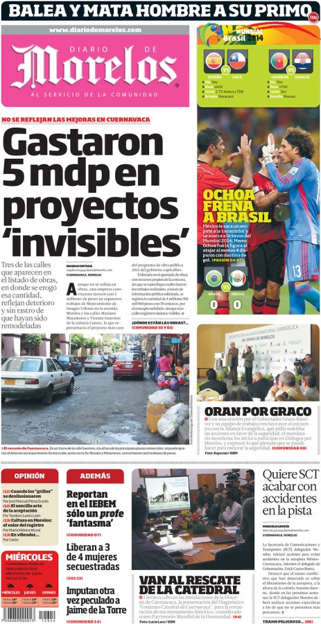 diario de moreles 463x900 Review of Mexico Newspaper Front Pages in Aftermath of Draw Against Brazil [PHOTOS]